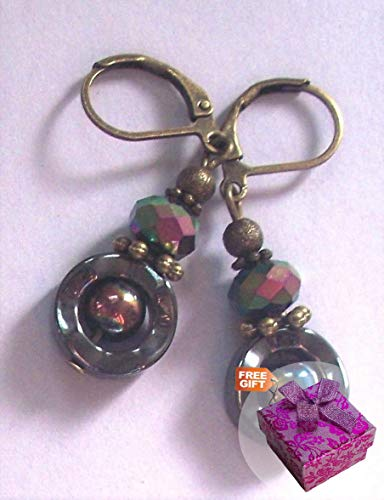 Black Hematite & Rainbow Donut Drop Earring Bronze Handcrafted Rhinestone Earrings For Women Set + Gift Box For Free