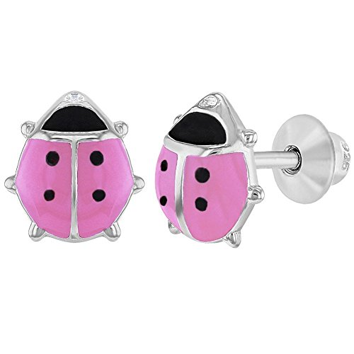 Enamel Pierced Earrings - 925 Sterling Silver Pink Enamel Ladybug Earrings Screw Back Earrings Girls