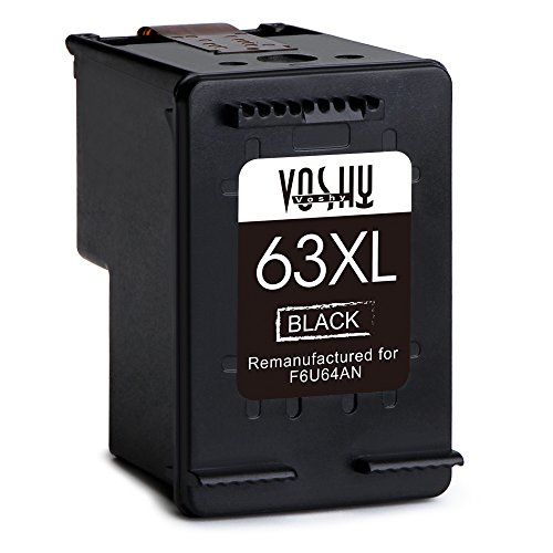 Voshy Remanufactured HP 63XL 63 Ink Cartridges, High Yield Replacement for HP OfficeJet 4650 3830 3833 Envy 4520 4516 DeskJet 1112 3634 3632 3633 3637 3630 3636 Printer, 2-Pack, Black by Voshy (Image #1)