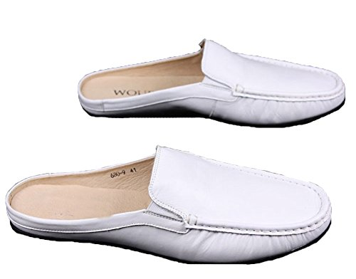 Santimon Men Male Soft Genuine Leather Slippers Leisure Slip-on Loafers Slippers 112-white Pzb2JU