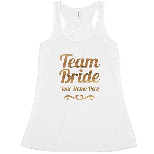 1ba3dcef86 ... Party Tees Custom Gold Team Bride Scroll: Bella Ladies Flowy Metallic Racerback  Tank. ; 
