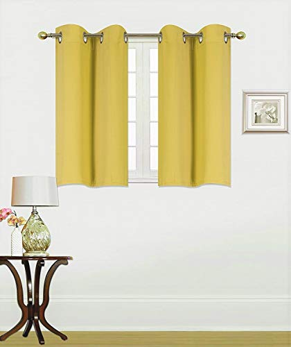 (Elegant Home 2 Panels Tiers Grommets Window Treatment Curtain Thermal Heavy Thick Insulated Blackout Drapes Short Panel 30