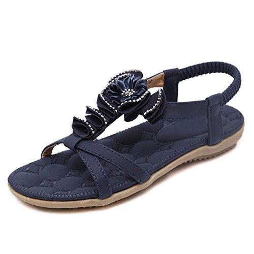 Sandalias mujer sandalias planas sandalias sencillas flores calzado de playa Azul oscuro