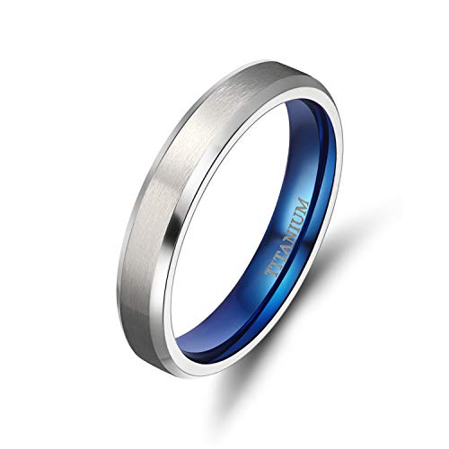 (TIGRADE 4MM/6MM/8MM Unisex Titanium Wedding Band Rings in Comfort Fit Matte Finish for Men Women (Blue 4mm, 10))
