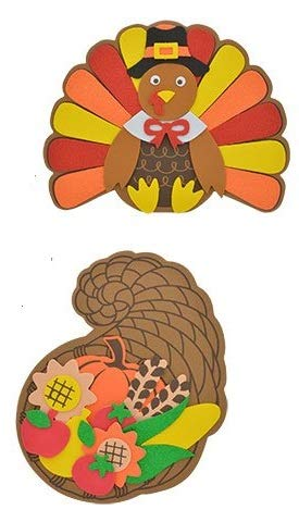 Home Harvest Decor Autumn Fall Decoration Decorations Leaves Autumn Foam Craft Kits Turkey Cornucopia BUNDLE OF 2