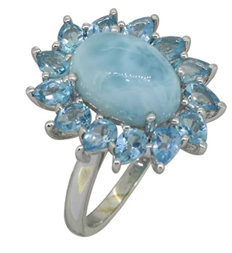 YoTreasure 1 Cts. Larimar Swiss Blue Topaz Solid 925 Sterling Silver Flower Cluster Ring