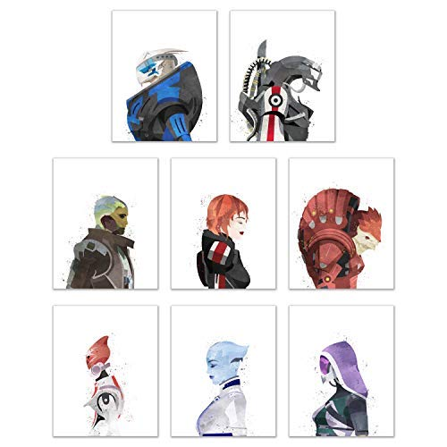 Watercolor Mass Effect Poster Prints - Set of 8 (8x10) Wall Art Decor - Female Commander Shepard - Garrus Vakarian - Liara T-Soni - Tali'Zorah - Urdnot Wrex - Mordin Solus - Legion - Thane Krios