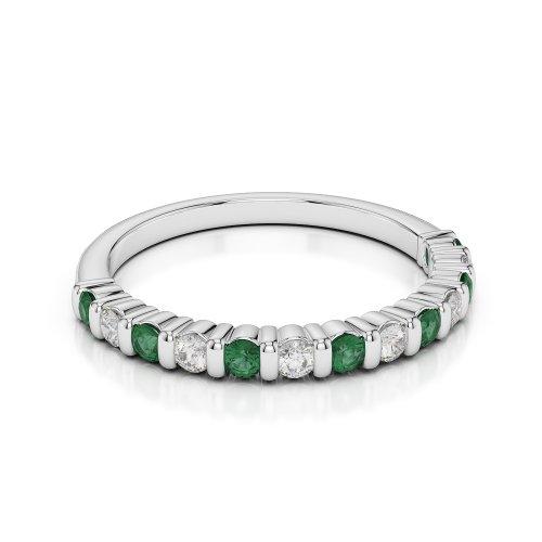 G-H/VS 0,33CT Coupe ronde Certifié Émeraude et diamants en platine 950Agdr-1095