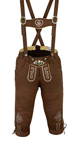 Damen Trachten Kniebundhose Jeans Hose kostüme mit Hosenträgern Braun, Größe:48