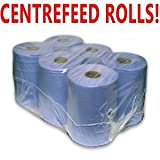 PPD 6 Pack 2 Ply Blue Embossed Centre Feed/Towel/Tissue Paper Wipe Rolls