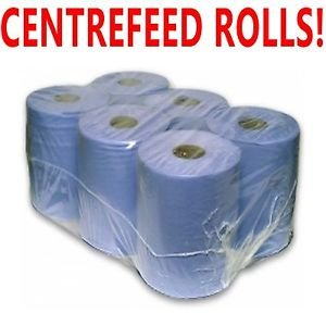 2 x Ply Blue Embossed Centre Feed/Towel/Tissue Paper Wipe Rolls PPD