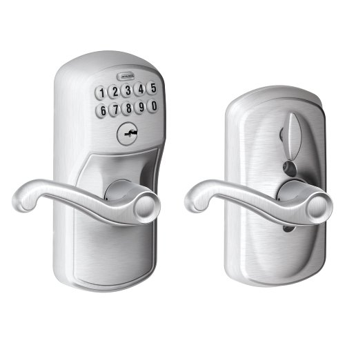 Schlage FE595 PLY 626 FLA Plymouth Keypad Entry with Flex-Lock and Flair Style Levers, Brushed Chrome