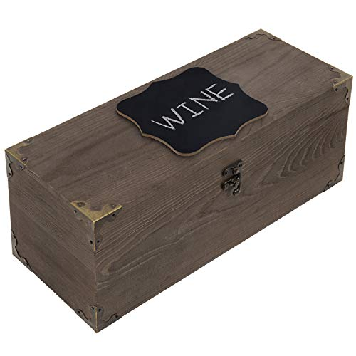 MyGift Rustic Wood Wine Case with Chalkboard Label & Brass Tone Accents