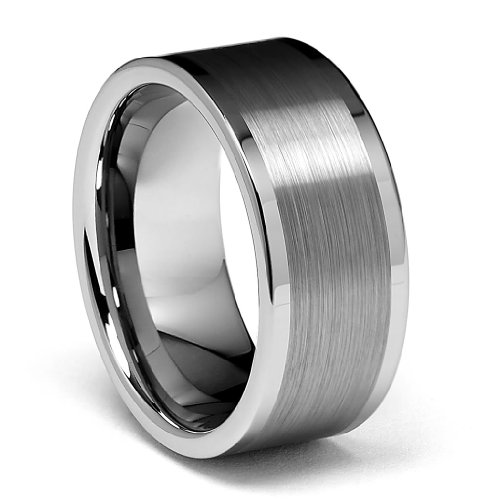 10mm Flat Brushed Men's Tungsten Wedding Band - - 10 Mm Mens Tungsten Wedding Bands