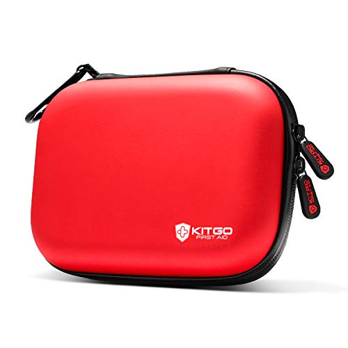 Kitgo Mini First Aid Kit 103 Pieces, 100% Water-Resistant Compact Hard Shell Case Perfect for Travel, Biking, Hiking, Camping, Car (Red)