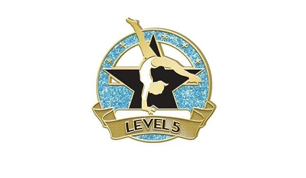Crown Awards Level 2 Glitter Gymnastics Pin Blue Gymnastics Lapel Pins Prime