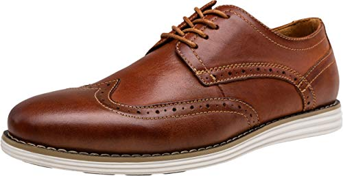VOSTEY Men's Dress Shoes Leather Brogue Wingtip Oxford Shoes (11,Wingtip-Oxblood)