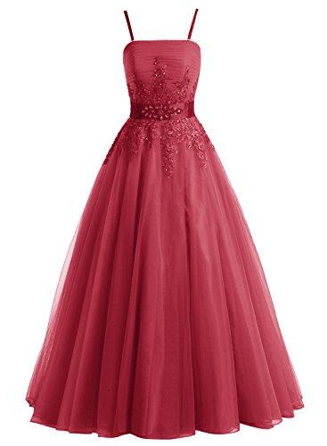 Bbonlinedress Vestido De Fiesta Largo De Tul Con Tirantes Con Aplicaciones Escote Bañera Rojo Ocscuro