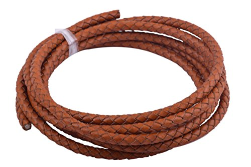 KONMAY 2 Yards 5.0mm Vintage Tan Genuine Leather Braided Bolo Leather ()