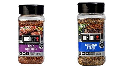 Weber Seasoning Variety Bundle, 6.50 oz (Pack of 2) includes 1-Bottle Bold Chipotle Seasoning + 1-Bottle Chicago Steak Seasoning