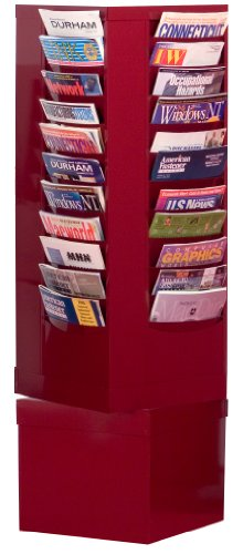 Durham 410-55 Burgundy Cold Rolled Steel 44 Pocket Rotary Literature Rack, 14-1/8