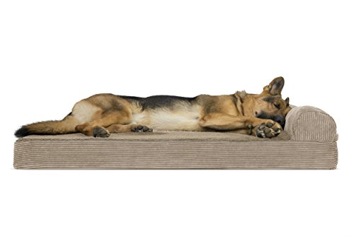 (FurHaven Pet Dog Bed | Deluxe Orthopedic Faux Fleece & Corduroy Chaise Lounge Sofa-Style Pet Bed for Dogs & Cats, Sandstone,)