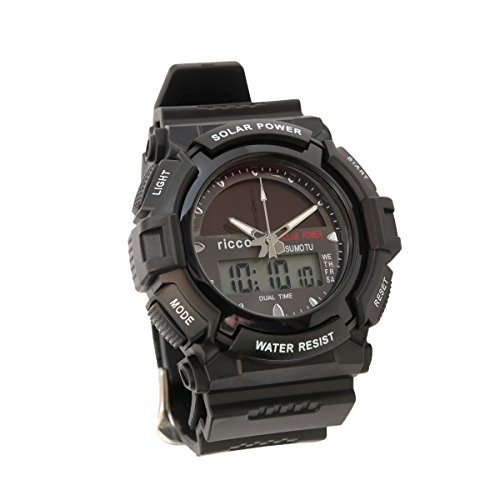 Men's Solar Sport Watch LED/ Quartz Combo Shock and Water Resistant SSW3 by ricco ()
