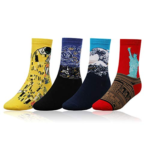Men's Sock Cotton Novelty Famous Painting Patterned Colorful Funky Casual Crew Socks 4 Pairs Box Pack