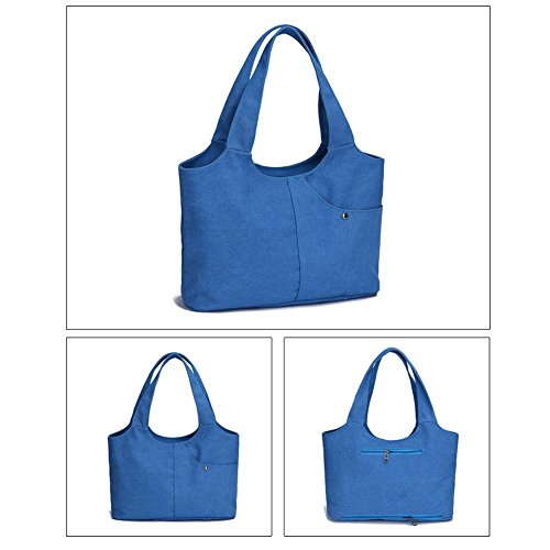 Portable Canvas Bags Blue Pouch Pure Casual Soft Handbags Simple Women Zipper Everpert HdBngxqRH
