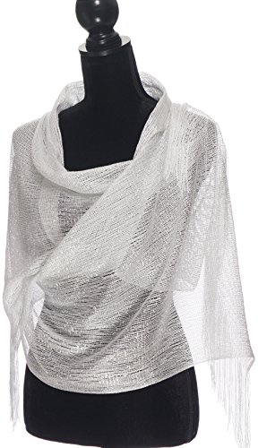Petal Rose Sheer Bridal Scarfs With Fringe for Prom, Weddings, Party Evening Dresses - Shawls and Wraps for Women - White Silver Metallic