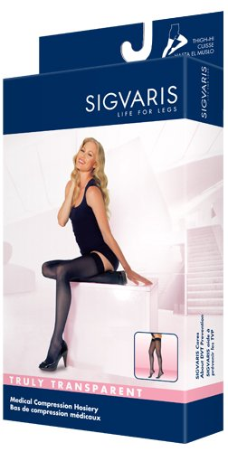 Sigvaris Truly Transparent Thigh High With Grip Top 30-40mmHg Closed Toe Short Length, Small Short, Natural by Sigvaris B004QPLPB8