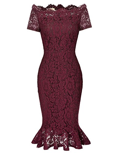 (Womens Sexy Lace Mermaid Cocktail Dress for Special Occasions L Wine Red)