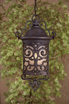 Minka Great Outdoors 9194-189-PL Chelesa Road - One Light Outdoor Chain Hung Lantern, Chelesa Bronze Finish with French Scavo Glass