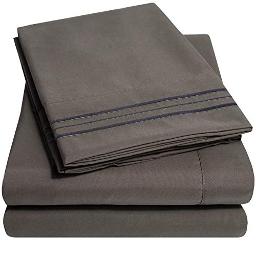 1500 Supreme Collection Extra Soft King Sheets Set, Gray – Luxury Bed Sheets Set With Deep Pocket Wrinkle Free Hypoallergenic Bedding, Over 40 Colors, King Size, Gray
