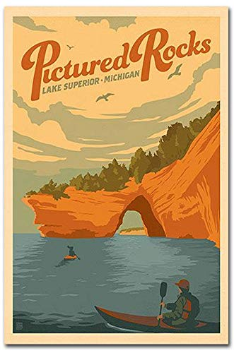 Pictured Rocks, Michigan Lake Superior Vintage Travel Art Refrigerator Magnet Size 2.5