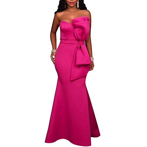 Formal Dress Pink (MuCoo Women's Sexy Strapless Off Shoulder Bodycon Party Cocktail Ruffles Maxi Dress Rosy L)