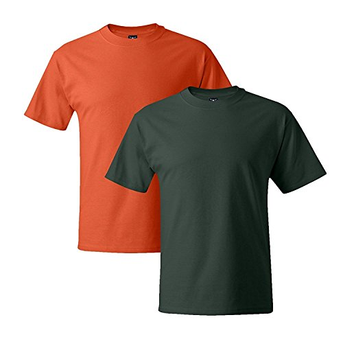 Hanes Mens 5180 Short Sleeve Beefy T, 1 Deep Forest/1 Orange XL