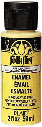 FolkArt Enamel Glass & Ceramic Paint in Assorted Colors (2 Ounce), 4018 Sunflower (Paint 2 Ounce Sunflower)