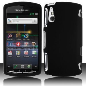 GTMax Hard Rubber Snap On Protector Cover Case - Black For Verizon Sony Ericsson Xperia Play R800 (Ericsson Phone Case Sony)