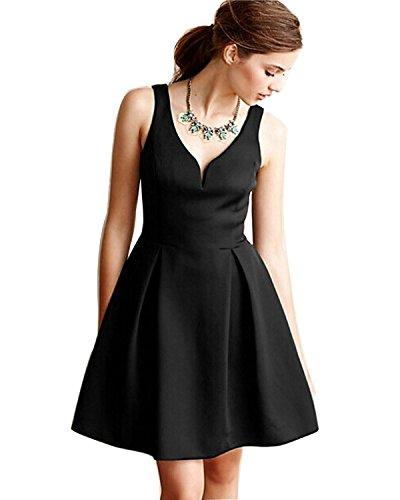 LUOUSE 50er Vestidos V-Cuello 1950s Retro Audrey Hepburn Rockabilly Clásico V039-Negro