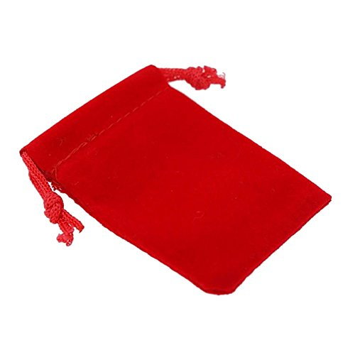 (Transer 10 Pcs Luxury Velvet Jewelry Pouches Drawstring Gift Favor Bags Candy Bag, 2.75x3.54 Inch (Red))