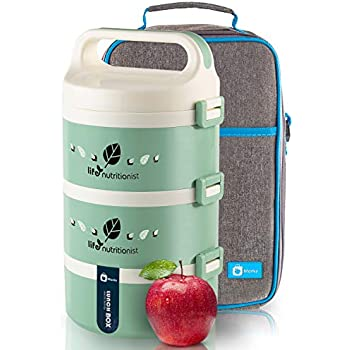 Bento Lunch Box Stackable Stainless Steel Thermal (3-Tier) Lunch Containers with Insulated Lunch Bag Leakproof Food Storage For Kids, Adults,Man and Women - MONKA