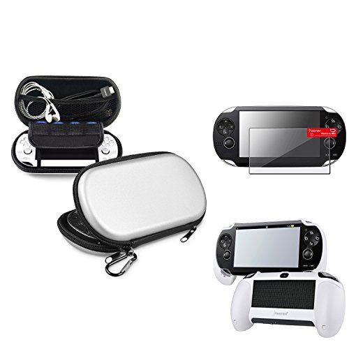 Psp Faceplates Buttons (Insten Silver EVA Case Cover + White Hand Grip + Clear Screen Protector Compatible With Sony PS Vita PSV)