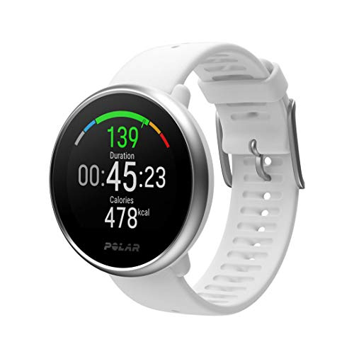 POLAR IGNITE - Advanced Waterproof Fitness Watch (Includes Polar Precision Heart Rate, Integrated GPS and Sleep Plus Tracking), White/Silver, Small