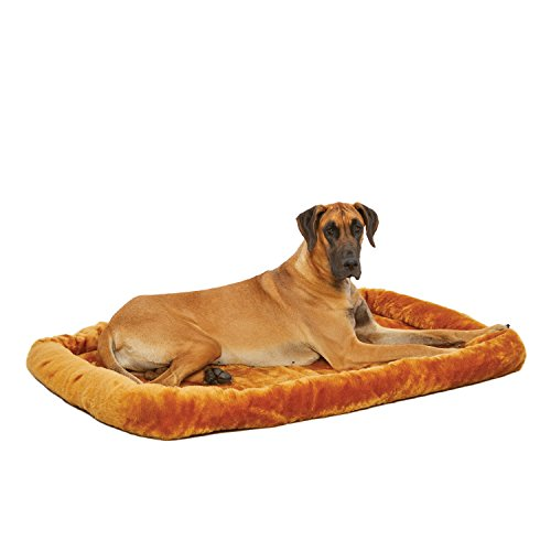 54L-Inch Cinnamon Dog Bed or Cat Bed w/ Comfortable Bolster | Ideal for Giant Dog Breeds (Great Dane / Mastiff) & Fits a 54-Inch Dog Crate | Easy Maintenance Machine Wash & Dry | 1-Year Warranty