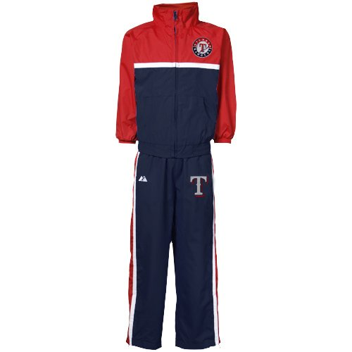 MLB Majestic Texas Rangers Infant Navy Blue-Cardinal 2-Piece Team Windsuit