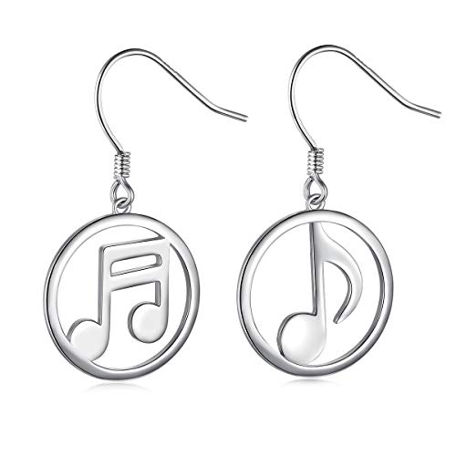 SILVER MOUNTAIN 925 Sterling Silver Hypoallergenic Mismatched Music Note Dangle Earrings for Women Girls Christmas Gift (Mismatch Music Note Earrings)