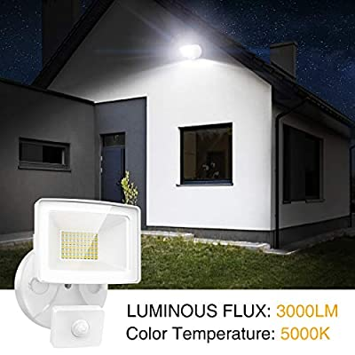 Onforu 2 Pack LED Security Lights with Motion Sensor, 30W Outdoor Indoor Flood Light 3000 Lumens 5000k IP65 Waterproof Floodlights for Entryways Stairs Yard Garage, White