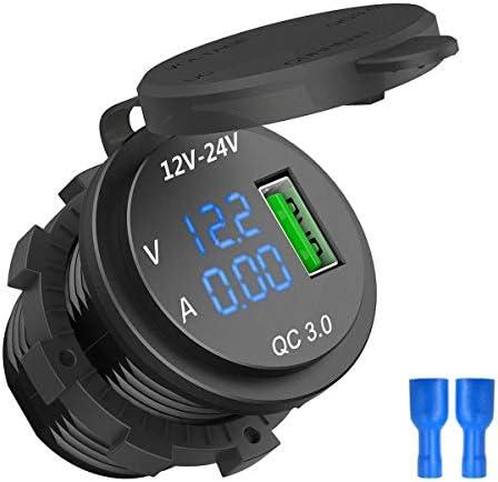 ACAMPTAR 12V / 24V 急速充電3.0自動車のシガレットライターソケットUsb充電器、LED電圧計電流計、ブラック & ブルー色