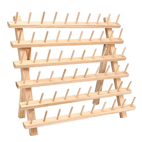 60 Spools Sewing Thread Rack Embroidery Storage Wooden Holder Cones Stand Shelf Needlework - Tool 19 Magnetic Pickup